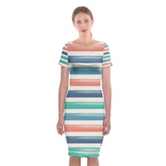 Summer Mood Striped Pattern Classic Short Sleeve Midi Dress