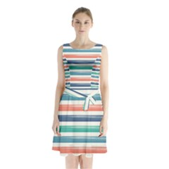 Summer Mood Striped Pattern Sleeveless Chiffon Waist Tie Dress
