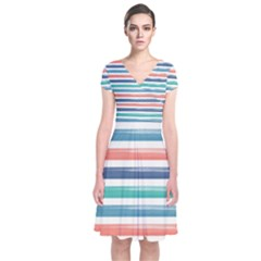 Summer Mood Striped Pattern Short Sleeve Front Wrap Dress