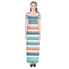 Summer Mood Striped Pattern Short Sleeve Maxi Dress