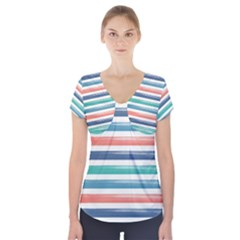Summer Mood Striped Pattern Short Sleeve Front Detail Top