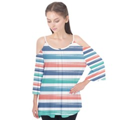 Summer Mood Striped Pattern Flutter Tees