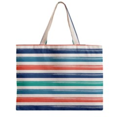 Summer Mood Striped Pattern Medium Zipper Tote Bag