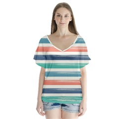 Summer Mood Striped Pattern Flutter Sleeve Top