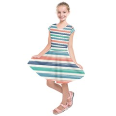 Summer Mood Striped Pattern Kids  Short Sleeve Dress
