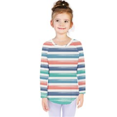 Summer Mood Striped Pattern Kids  Long Sleeve Tee