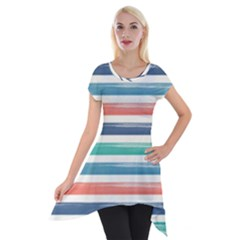 Summer Mood Striped Pattern Short Sleeve Side Drop Tunic