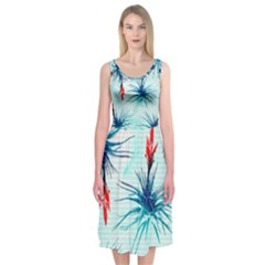 Tillansia Flowers Pattern Midi Sleeveless Dress