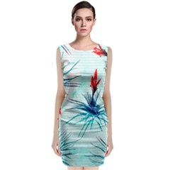 Tillansia Flowers Pattern Classic Sleeveless Midi Dress