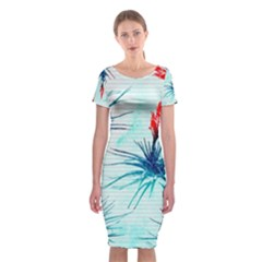 Tillansia Flowers Pattern Classic Short Sleeve Midi Dress