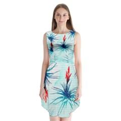 Tillansia Flowers Pattern Sleeveless Chiffon Dress