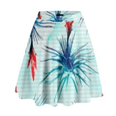 Tillansia Flowers Pattern High Waist Skirt