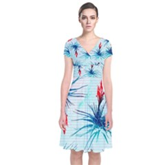 Tillansia Flowers Pattern Short Sleeve Front Wrap Dress