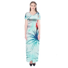 Tillansia Flowers Pattern Short Sleeve Maxi Dress