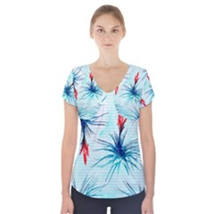 Tillansia Flowers Pattern Short Sleeve Front Detail Top