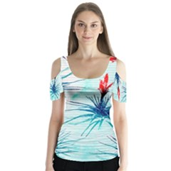 Tillansia Flowers Pattern Butterfly Sleeve Cutout Tee