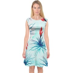 Tillansia Flowers Pattern Capsleeve Midi Dress