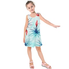Tillansia Flowers Pattern Kids  Sleeveless Dress
