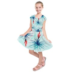 Tillansia Flowers Pattern Kids  Short Sleeve Dress