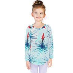 Tillansia Flowers Pattern Kids  Long Sleeve Tee