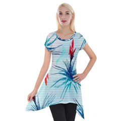 Tillansia Flowers Pattern Short Sleeve Side Drop Tunic