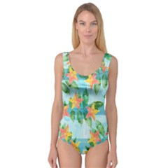 Tropical Starfruit Pattern Princess Tank Leotard