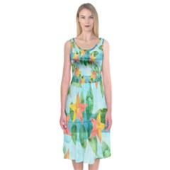 Tropical Starfruit Pattern Midi Sleeveless Dress