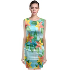 Tropical Starfruit Pattern Classic Sleeveless Midi Dress