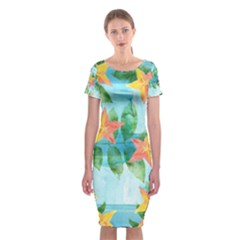 Tropical Starfruit Pattern Classic Short Sleeve Midi Dress