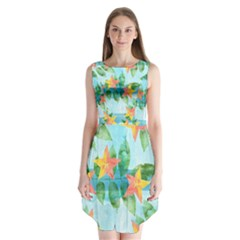 Tropical Starfruit Pattern Sleeveless Chiffon Dress
