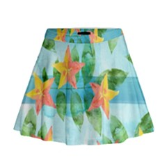 Tropical Starfruit Pattern Mini Flare Skirt