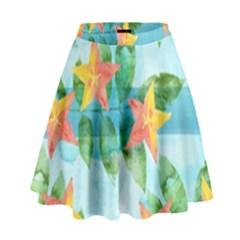 Tropical Starfruit Pattern High Waist Skirt