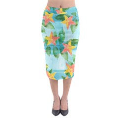 Tropical Starfruit Pattern Midi Pencil Skirt