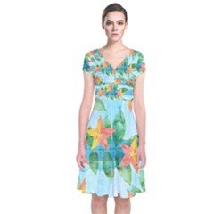 Tropical Starfruit Pattern Short Sleeve Front Wrap Dress