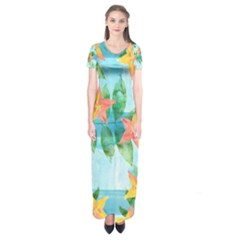 Tropical Starfruit Pattern Short Sleeve Maxi Dress