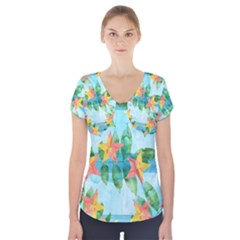Tropical Starfruit Pattern Short Sleeve Front Detail Top