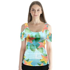 Tropical Starfruit Pattern Butterfly Sleeve Cutout Tee