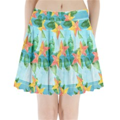 Tropical Starfruit Pattern Pleated Mini Skirt
