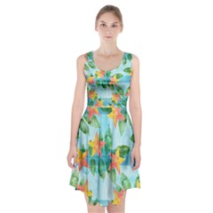 Tropical Starfruit Pattern Racerback Midi Dress