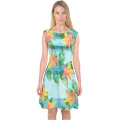 Tropical Starfruit Pattern Capsleeve Midi Dress