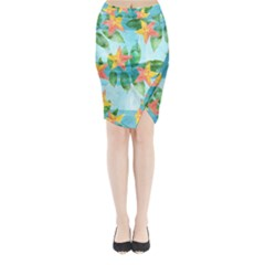 Tropical Starfruit Pattern Midi Wrap Pencil Skirt