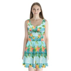 Tropical Starfruit Pattern Split Back Mini Dress