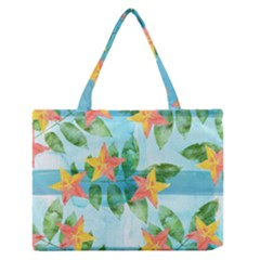 Tropical Starfruit Pattern Medium Zipper Tote Bag
