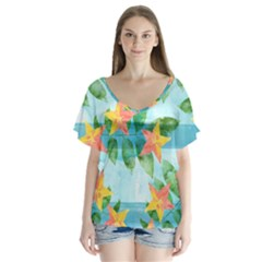 Tropical Starfruit Pattern Flutter Sleeve Top