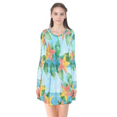 Tropical Starfruit Pattern Flare Dress