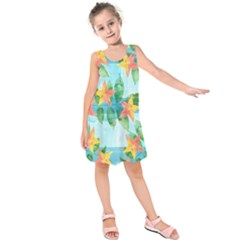 Tropical Starfruit Pattern Kids  Sleeveless Dress