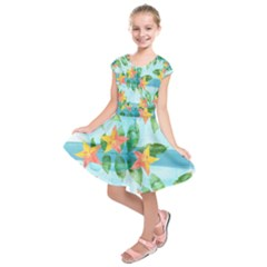 Tropical Starfruit Pattern Kids  Short Sleeve Dress