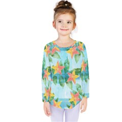 Tropical Starfruit Pattern Kids  Long Sleeve Tee
