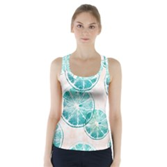 Turquoise Citrus And Dots Racer Back Sports Top