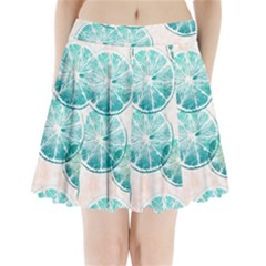 Turquoise Citrus And Dots Pleated Mini Skirt